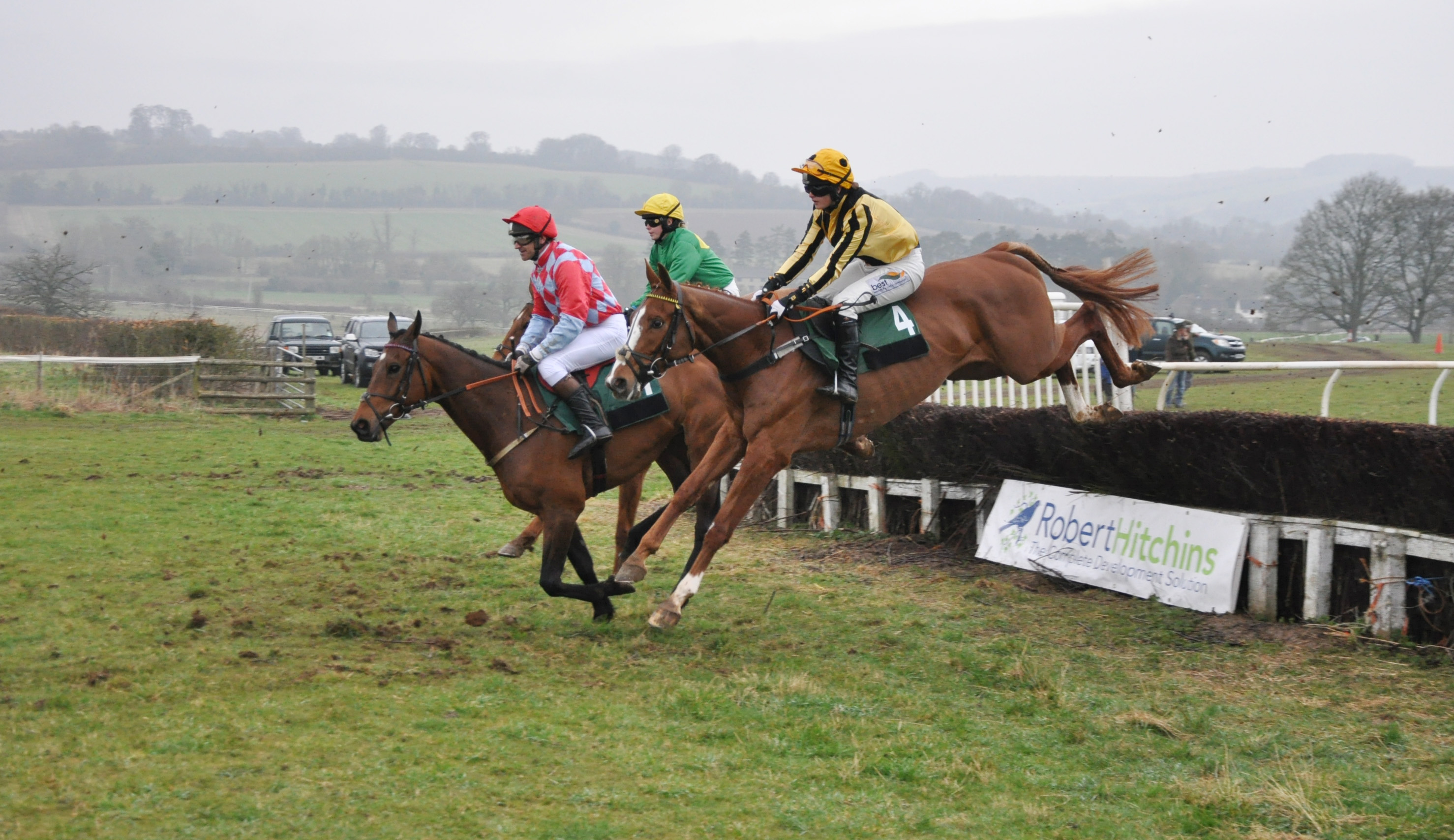 Eurobot (near side) under Gina Andrews picks up the GX Land Rovers Open Maiden at this year's Andoversford Races